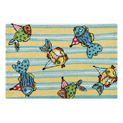 Pam Party Fishes Coastal Blue Area Rug