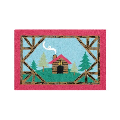 Farley Log Cabin Lodge Blue Area Rug