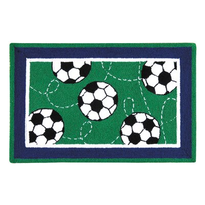 Dollard Soccer Sport Green Area Rug