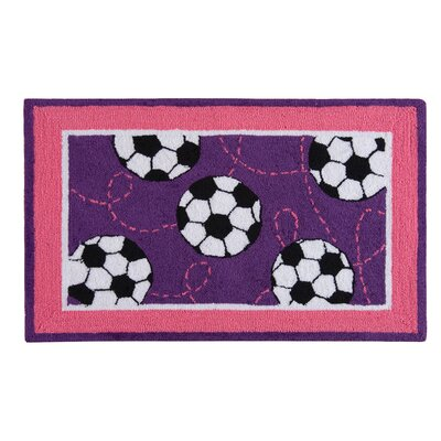 Dolley Soccer Sport Purple Area Rug