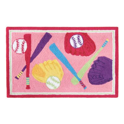 Dollison Softball Pink Area Rug