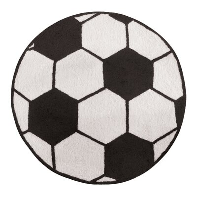 Dollis Soccer Sport Black Area Rug