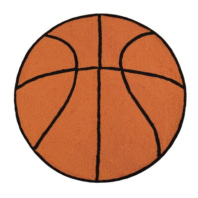 Domenica Basketball Sport Orange Area Rug