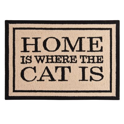 Holstein Home Is Where the Cat Is Wool Tan Area Rug