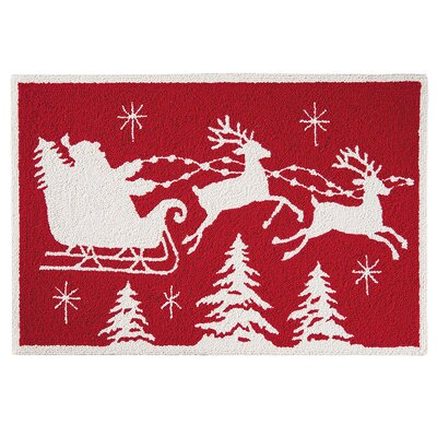 Flying Sleigh Christmas Wool Red Area Rug