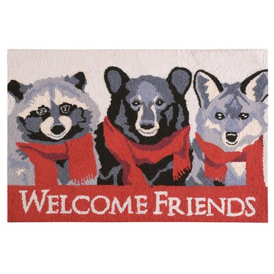Welcome Friends Lodge Wool Red Area Rug