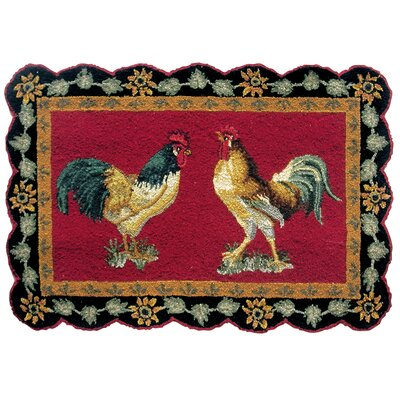 Trace Rooster Wool Red Area Rug