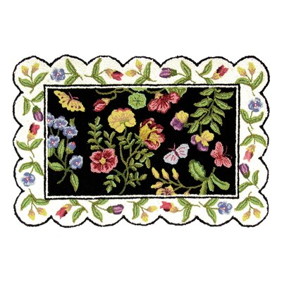 Anjelica Floral Wool Black Area Rug