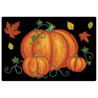 Pumpkin Patch Halloween Wool Black Area Rug