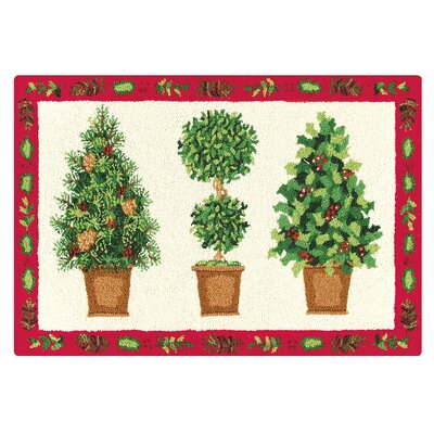 Festive Topiary Christmas Wool Green Area Rug