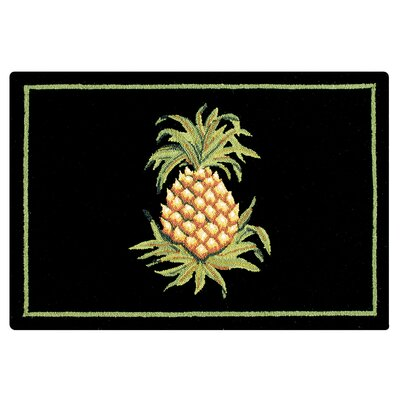 Stockbridge Pineapple Wool Black Area Rug