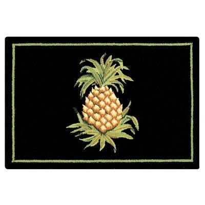 Stockbridge Pineapple Wool Black Area Rug