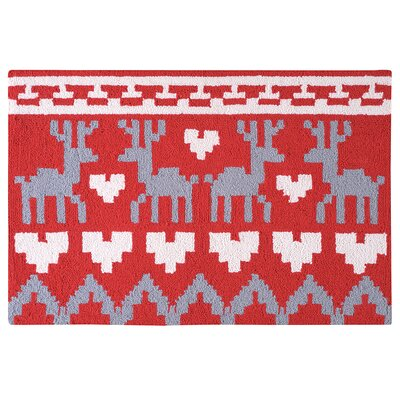Gideon Reindeer and Hearts Christmas Wool Red Area Rug