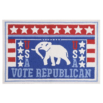 Horace Vote Republican Wool Blue Area Rug
