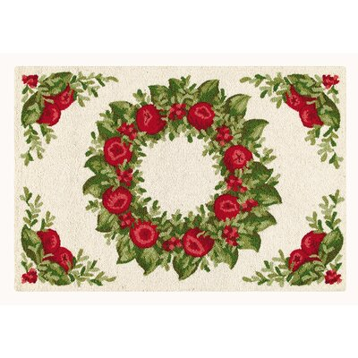 Purtell Apple Wreath Wool Red/Green Area Rug