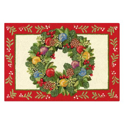 Ornament Wreath Wool Red/Green Area Rug