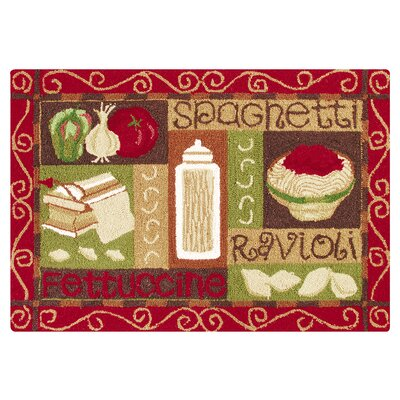 Horne Spaghetti Wool Tan/Red Area Rug