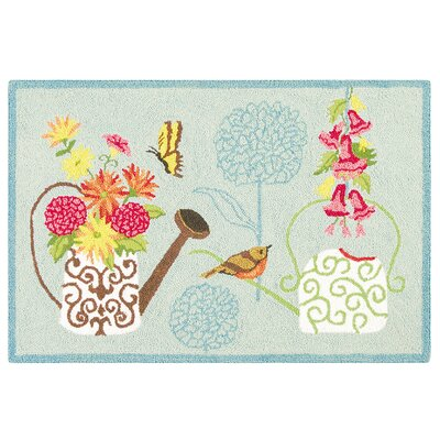 Liberty Flower Wool Beige Area Rug