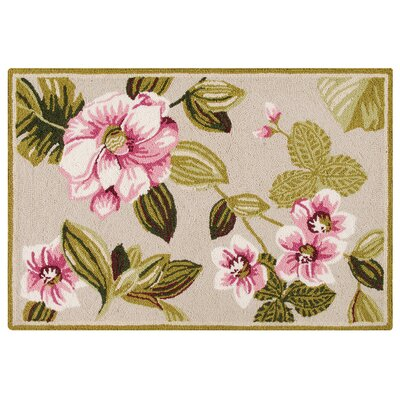 Arness Wool Pink/Green Area Rug