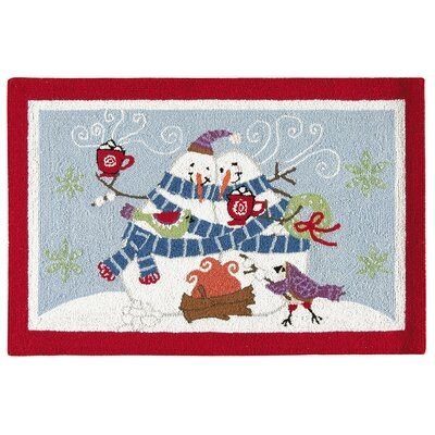 Toasty Wishes Snowman Wool Red Area Rug