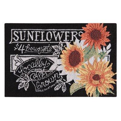 Gasser Sunflowers Wool Black Area Rug