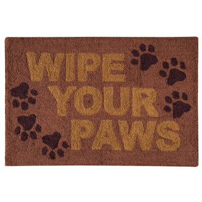 Hornberger Wipe Your Paws Wool Brown Area Rug