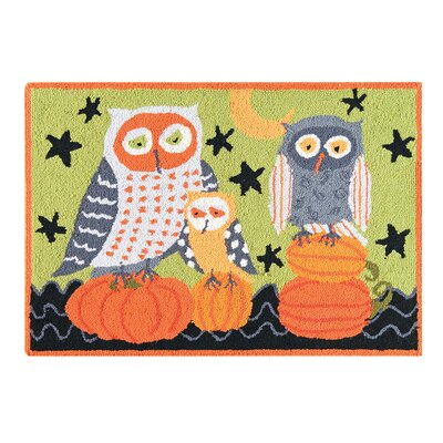 Hootenanny Owls Wool Green Area Rug