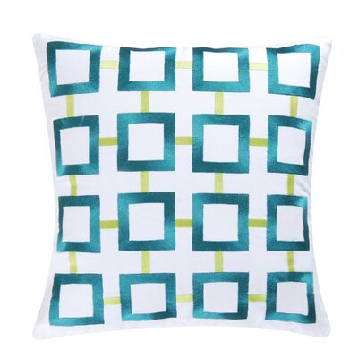 St James Square 100% Cotton Throw Pillow Color: Aqua