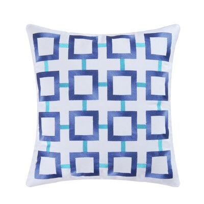 St James Square 100% Cotton Throw Pillow Color: Blue