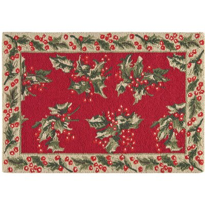Armentrout Holly Christmas Wool Red Area Rug