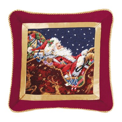 Santa with Sleigh Needlepoint Wool Throw Pillow