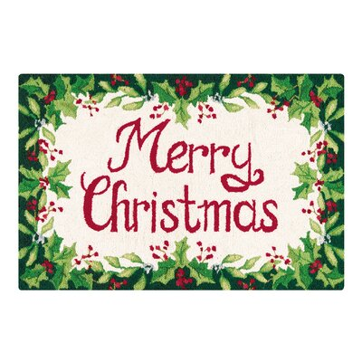 Merry Christmas Green and Red Hooked Area Rug Rug Size: 2 x 3