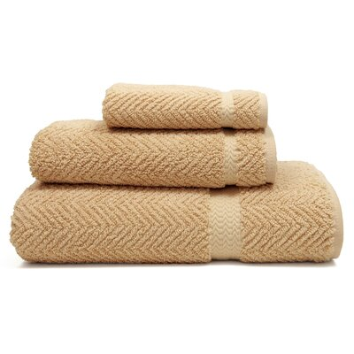 Herringbone Weave 100% Turkish Cotton 3 Piece Towel Set Color: Warm Sand
