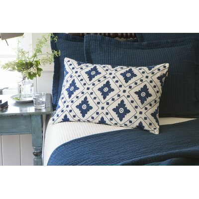 Linnea Embroidered Linen Lumbar Pillow Color: Indigo