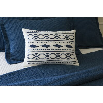 Britten Embroidered Linen Boudoir Pillow Color: Indigo