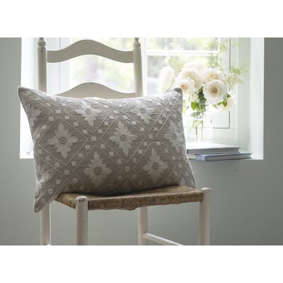 Linnea Embroidered Linen Lumbar Pillow Color: Natural