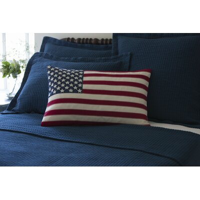 Old Glory Embroidered Cotton Lumbar Pillow 1063OGLORY-EMB