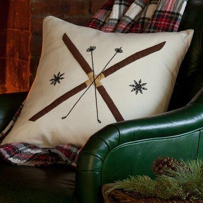 Crossed Ski Porch Cotton Throw Pillow