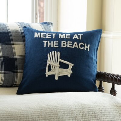 Meet Me At The Beach Porch Linen Throw Pillow Color: Indigo