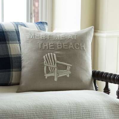 Meet Me At The Beach Porch Linen Throw Pillow Color: Natural