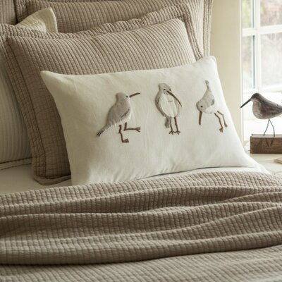 Shore Birds Embroidered Linen Lumbar Pillow