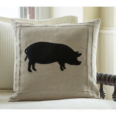 Pig on Linen Throw Pillow