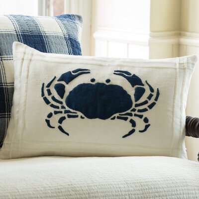 Crab Linen Lumbar Pillow Color: White