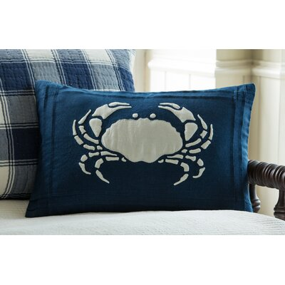 Crab Linen Lumbar Pillow Color: Indigo