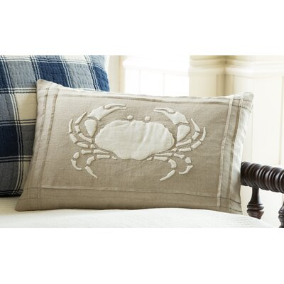 Crab Linen Lumbar Pillow Color: Natural