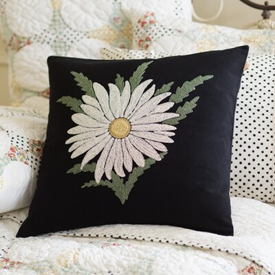 Daisy Embroidered Cotton Throw Pillow
