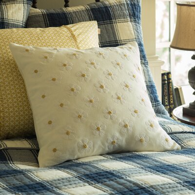 Daisy Chain Embroidered Linen Throw Pillow