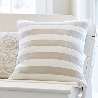 Rugby Stripe Throw Pillow Color: Natural / Cream