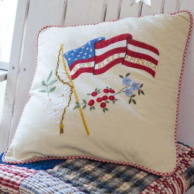 God Bless America Porch Cotton Throw Pillow