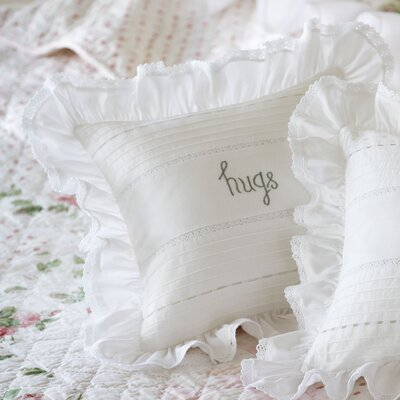 Hugs Embroidered Toss Cotton Throw Pillow Color: Blue